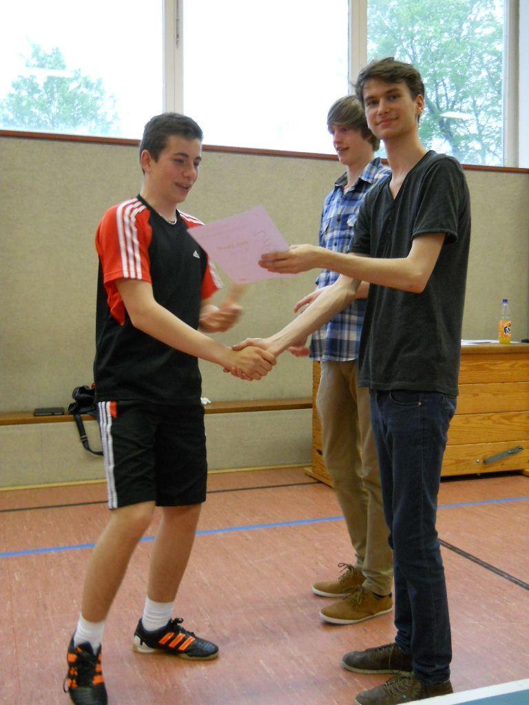 Gratulation von Arne und Keno an Denis Schmidt.